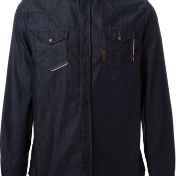 Armani Jeans trimmed cuffs and front button flap pockets denim shirt
