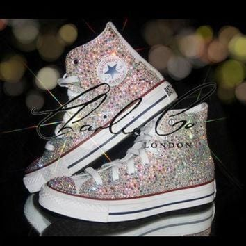 DCKL9 CHARLIE CO. AB Crystal Strass Swarovski & Glass Hi Top Converse Trainers