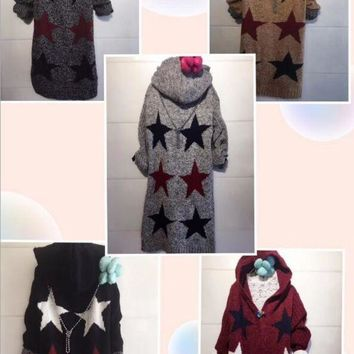 Hooded Sweater Knit Cardigan Jacket Coat