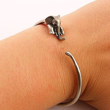 Animal Wrap Bracelet- Elephant - White Bronze - keja jewelry