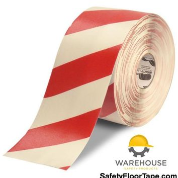 "6"" White Tape with Red Chevrons - 100'  Roll"