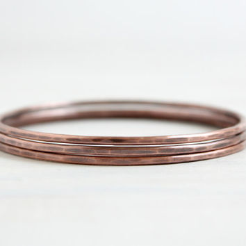 Stacking Bangles Oxidized Copper Layering Bracelets Bohemian Jewelry Handcrafted Hammered Metal Bracelet Set