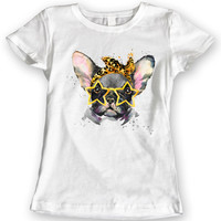 Cute French Bulldog Star Glasses T-Shirts Ladies Gift Idea 100% Cotton S, M, L, XL