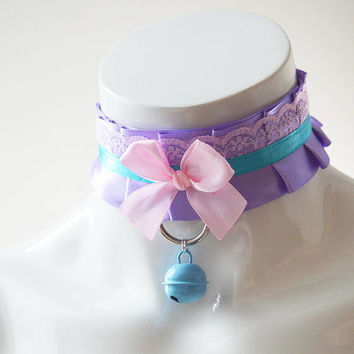 Kitten play collar - Lavender kitten - ddlg little princess bdsm proof choker with leash ring - kawaii cute fairy kei colorful blue and pink