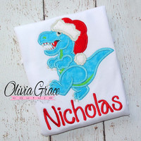 Santa Dinosaur Boys Christmas Winter Embroidered Applique Shirt or Bodysuit