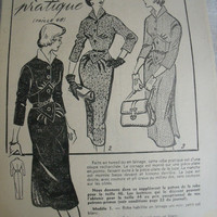 1954's french women magazine with cut 3 Sewing Patterns, Embroidery, crochet Patterns. Women today Magazine, french Dress Patterns