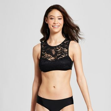 Women's Lace High Neck Bikini Top - Xhilaration™ Black