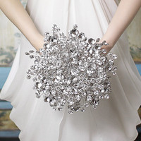 Bridal Bouquets - The Duo Mirrored Bridal Bouquet - Wedding Bouquet - Fabulous Brooch Bouquet Alternative with Grooms Boutonniere