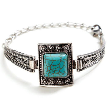 Artificial Turquoise Square Boho Bracelet Jewelry