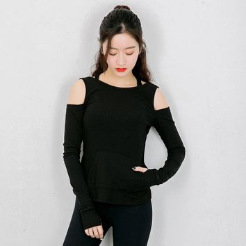 SYNSLOVEN design yoga dancing training exercise long sleeve t-shirt off shoulder backless sportwear top solid colour loose style