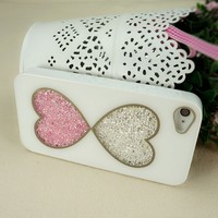 Double Hearts Dancing Diamond Case for iPhone 4/4S (white frame)