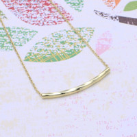 gold twisted bar  necklace