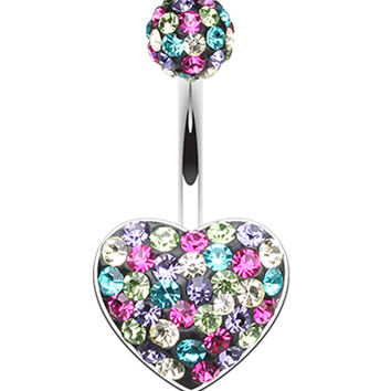 Brilliant Motley Heart Sparkling Belly Button Ring