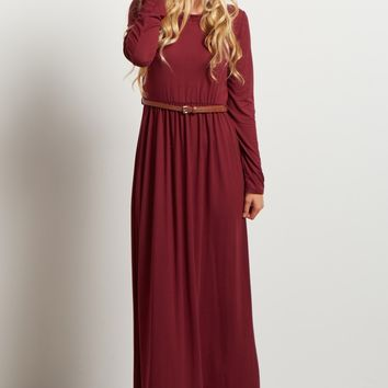Burgundy-Long-Sleeve-Belted-Maxi-Dress