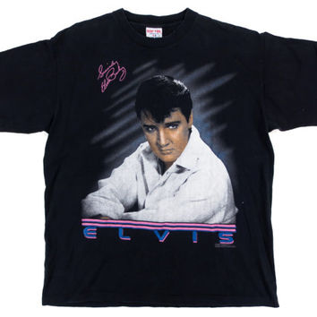 Vintage Elvis T-Shirt - Black Tshirt Elvis Presley 80's 90's Graphic Tee - Men's Size Extra Large XL