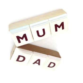 MUM & DAD handmade magnets set of 2 reworked board games natural white retro gift