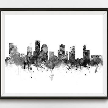 Houston Print, Skyline, Black and White, Texas, City Skyline, Houston Office Art, Home Decor, Watercolor, Landscape ,Gift, Digital Download