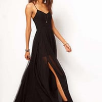 Black Sweetheart Neckline Low Cut Back Evening Dress