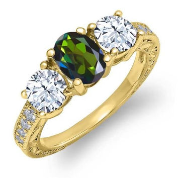 2.42 Ct Forest Green Mystic Topaz 18K Yellow Gold Plated Silver Ring