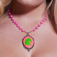 Neon Pink and Lime Green Kawaii Unicorn Cameo Necklace by Goraline