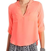 Double Pocket V-Neck Chiffon Top by Charlotte Russe
