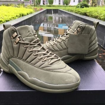 Air Jordan Retro 12 PSNY Men Basketball Shoes XII 12S Olive Green Athletic Tranier Sports Sneakers Boots Size8-13 With Box