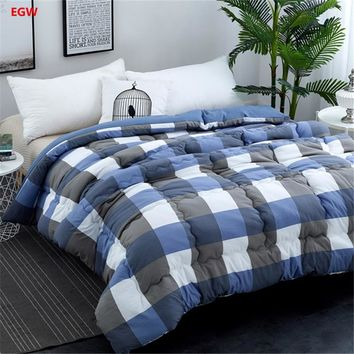 New Winter quilt blue gray grid comforter full queen size 150*200cm 200*230cm pink stripe double bed polyester Autumn patchwork