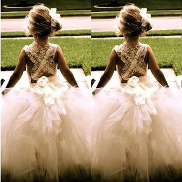 Ball Gown Flower Girl Dresses 2016 New Princess Ball Party Pageant Communion Dress for Wedding Little Girls Kids/Children Dress
