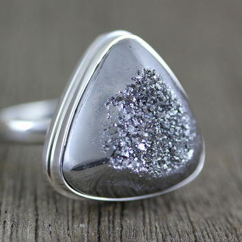 Titanium Druzy Agate in Sterling Silver Size 9 Ring  (D006)