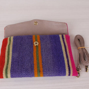 Broche Clutch Bag pleated handmade kilim rug and vintage broche on the front