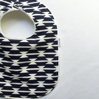 Modern Baby Bib - Aztec Baby Bib - Arizona Baby Bib - Navy and White Tomahawk Stripe -White Bubble Dot Minky Backing - Handmade Baby Gift