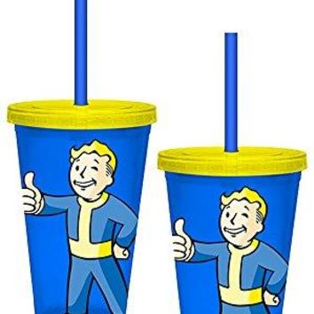 "Fallout OFFICIAL Vault Boy ""Thumbs Up!"" PREMIUM Tumbler Travel Cup, 16oz Blue/Yellow (BPA-Free)"