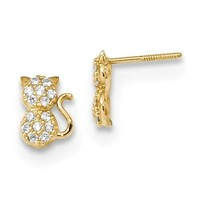14k Yellow Gold Solid Madi K Youth CZ Sitting Cat Screwback Earrings
