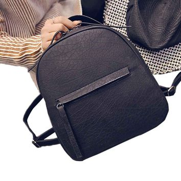 Hot Sale 2017 Hot Fashion Women PU Leather Backpacks Schoolbags Travel Shoulder Bag Simple Style Designer Small Backpack Ladies