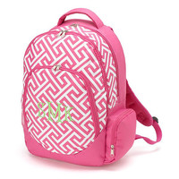 Monogrammed Backpack Pink Greek Key School Bookbag Back Pack Book Bag
