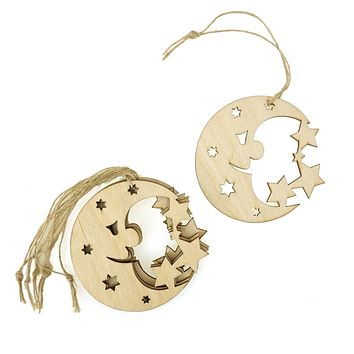 Wooden Moon Laser Cut Christmas Ornaments, Natural, 3-Inch, 6-Count
