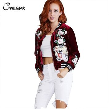 Women Bomber Jacket Coats 2016 Winter Autumn Velvet Stand Collar Embroidery Roses Tiger Outwear Jacket chaquetas mujer QL2743