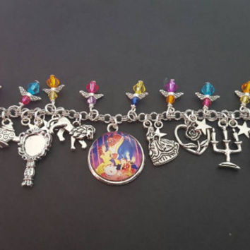 Disney beauty and the beast inspired charm bracelet