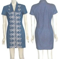 80s Embroidered Vintage Blue Cotton Denim Mini Dress | NeldasVintageClothing - Clothing on ArtFire