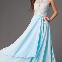 Floor Length Prom Dress with Lace Embellished Bodice
