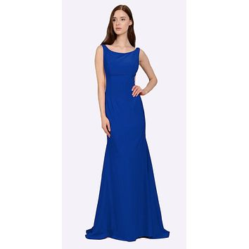 Royal Blue Long Formal Dress with Sheer Side Cut-Outs and Slit