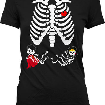 Twin Pregnant Skeleton Shirt Pregnant Halloween Costume Skeleton Pregnancy Shirt Maternity Skeleton T Shirt Boy Girl Superhero Ladies MD-551