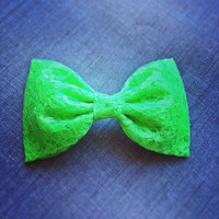 Neon green bow handmade fabric bow tie or hair bow