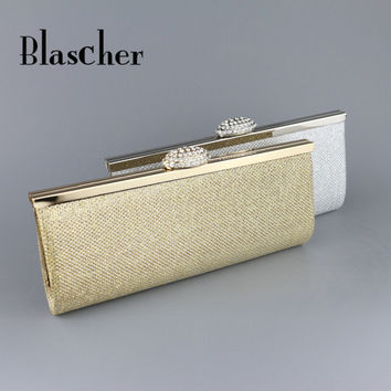 Blascher Women Evening Bag Diamond Rhinestone Clutch Crystal Day Clutch Wallet Wedding Purse Party Banquet Gold Silver SCA13