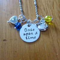 "Disney Inspired Princess Snow White Necklace. ""Once Upon A Time"". Silver colored, Hand Stamped, Swarovski crystals. FREE shipping"