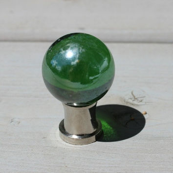 Glass Drawer Knobs - Cabinet Pulls Dark Green (GK02) MORE COLORS Available