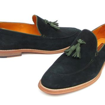 Paul Parkman Men's Tassel Loafer Green Suede Shoes (ID#087-GREEN)