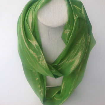 Bright Green Eternity SILK Scarf, green cowl silk neck scarf, Gift for wife, Gold iridescent metallic infinity scarf, Ready to ship Gifts