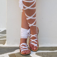 "Lace up Sandals with white scarf laces,  Ideal bridal shoes, Original design ""APHRODITE"" AS29"