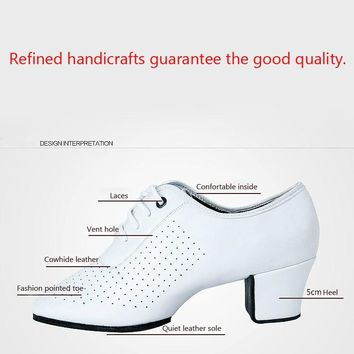 Genuine Leather Split Soles Middle Heel Women's Ballroom Dance Shoes Teacher's Shoe Girls Tango Latin Dance Shoes White Red
